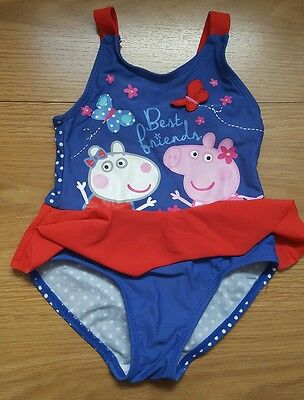 Toddler girl's Peppa pig swimsuit swimming costume 18-24 months 1 1/2- 2 years