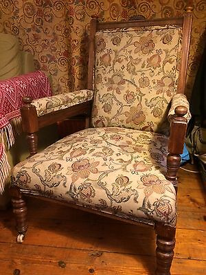 Old Antique Vintage Mahogany Edwardian Fireside Fireplace Armchair Chair