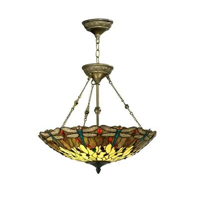 Springdale 2 Light Corrall Dragonfly Hanging Fixture, Antique Bronze - FTH10011