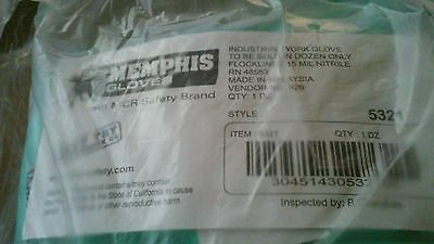 Memphis Industrial Gloves Flock Lined 15MIL Nitrile 5321 XXL (11-11.5) 12 Pairs