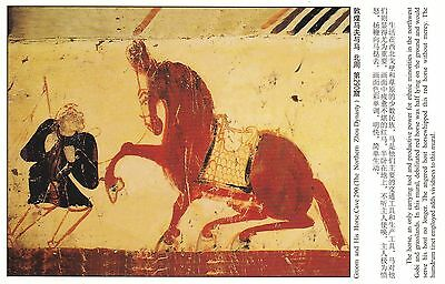 GROOM & HIS HORSE CAVE 290 Painting (Northern Zhou Dynasty), CHINA Postcard!