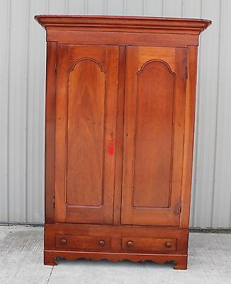 1870s SOLID CHERRY 2 DOOR KNOCKDOWN ARMOUR WARDROBE CLOSET