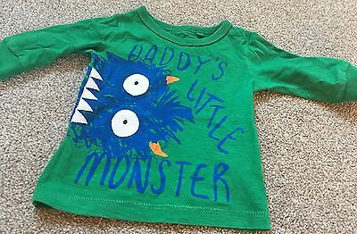 Baby boys Next 'Daddy's Little Monster' long sleeved top t-shirt 3-6 months