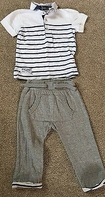Baby boys Next polo shirt & jogging bottoms trousers outfit Age 12-18 months