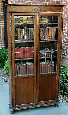 Antique English Oak Jacobean Leaded Glass Bookcase Display Cabinet Shelves Tudor