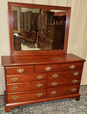 LINK TAYLOR DOUBLE DRESSER Cherry Chest with Mirror VINTAGE