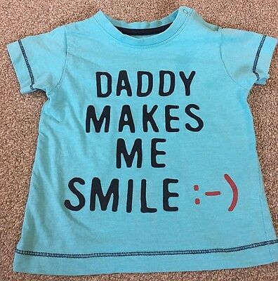 Baby boys blue 'Daddy Makes Me Smile' t-shirt top Age 9-12 months Nutmeg