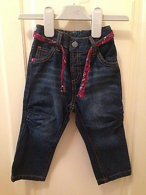 Baby Girls Blue Jeans With Red Check Belt, Elasticated 12-18 Months 1-1.5 Years