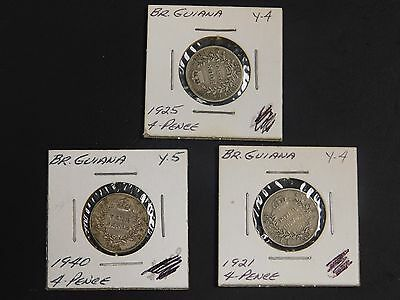 Lot of (3) British Guiana 4 Pence Coins, 1921/1925/1940!