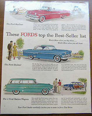 Vintage 1954 Ford Sunliner Collector Car Ad Original Magazine Paper Ad Mancave