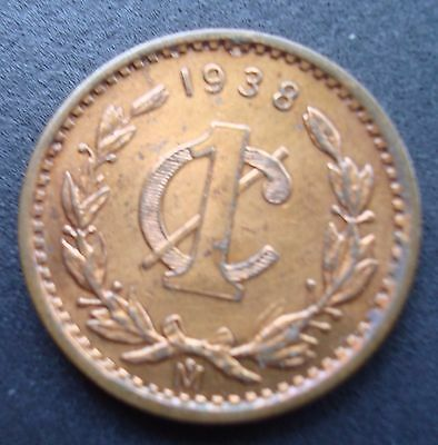 Mexico 1938 1 Cent copper beautiful coin