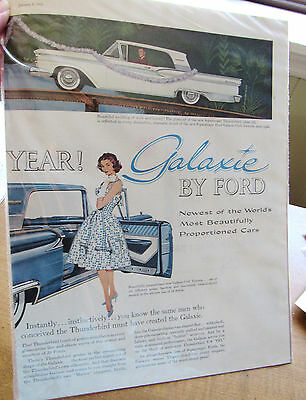 Vintage 1959 Ford Galaxie Lg Double Page Collector Car Ad Original Magazine