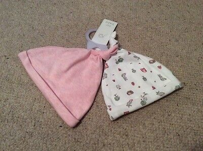 Baby Girls 2 Pack 100% Cotton Pink Hats. 3-6 Mths. BNWT