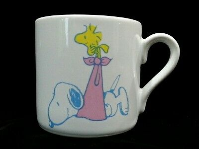 Vintage Peanuts Ceramic Baby Mug Cup Snoopy Woodstock 1958 1965 United Feature