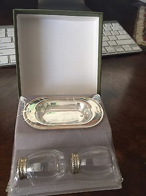 Brand New In Box Christofle Sterling Silver Glass Salt & Pepper Shakers w/Tray