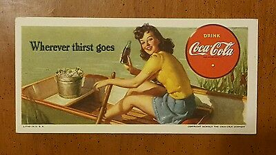 "1942 COCA-COLA Coke Blotter ""Wherever thirst goes"" - Excellent!  Vintage! NOS!"