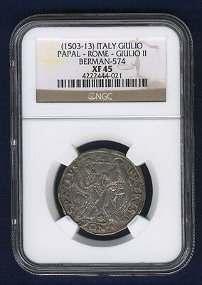 Italy Papal States Pope Julius Ii 1503-13 Giulio Silver Coin Ngc Certified Xf45