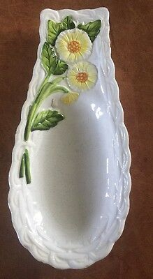 vtg George Geo. Z. LEFTON Daisies Rustic Daisy CERAMIC SPOON REST #4123 Md/USA