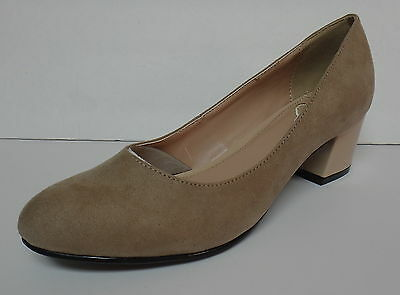 "Madeline ""abbey"" Taupe Pumps Slip On Shoes Mid Heel Round Toe Size 6.5M New"