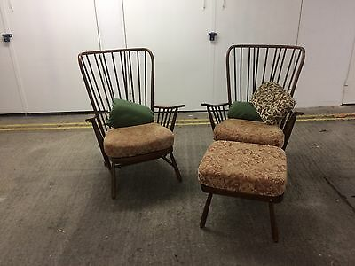2 Vintage Mid Century Ercol Windsor Evergreen  Armchairs And Footstool