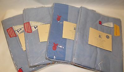 Set of 4 Pottery Barn Kids Nautical Sailboat Boat Nursery Window Topper Valance