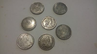 (Seven) 7 Novelty Silver Dollars Liberty Seated and Flowing Hair Type