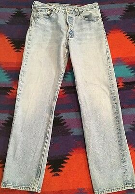 "USA Made Vtg Levis 501-0115 Button Fly Red Tab Light Blue Distressed 30x29"" Hip"