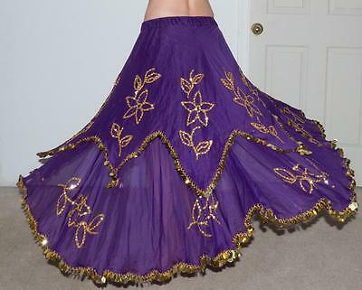 Belly Dance Costume PURPLE SKIRT GOLD BEADS & SEQUINS ~AMAZING~
