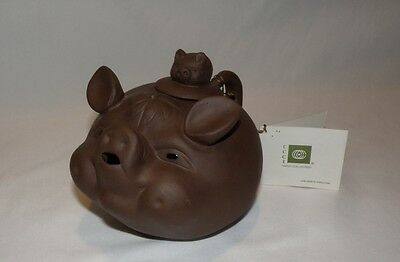 Yixing China Chinese Pottery Hand Made Pig on Pig Teapot