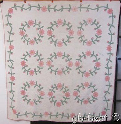 Cottage c 1930s Wreath of Roses Applique Vintage QUILT Beautiful Quilting