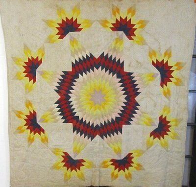 "BLAZING Star! c 1890s Antique QUILT Pennsylvania 78"" x 75"""