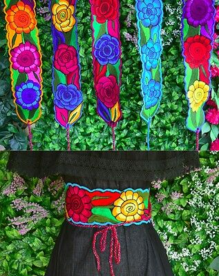 "Colorful Embroidered Flowers Mexican Chiapas Belt(Onesize,adjustable 4"" Width)E"