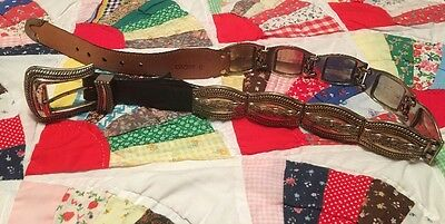 Brighton BRAIDED SILVER and Black Leather Belt Western #40203 Made in USA size S