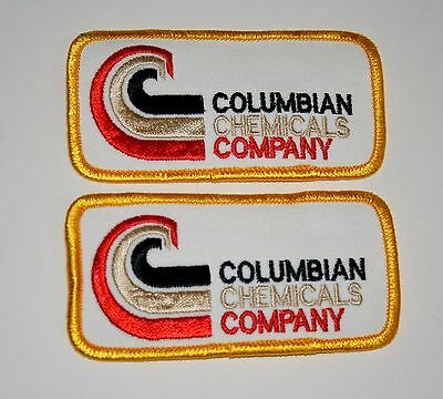 2 Vintage Columbian Chemicals Company Employee Patch New NOS 1970s Marietta GA