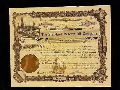 1904 The Standard Oil Reserve Oil Company Stock Certificate State Of Wyoming