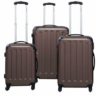 3 Pcs Luggage Travel Set Bag ABS+PC Trolley Suitcase Brown