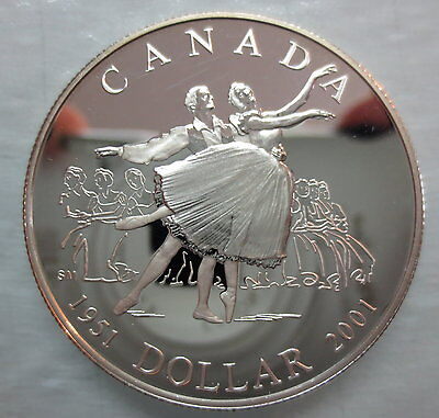 2001 CANADA 50th ANNIVERSARY NATIONAL BALLET PROOF SILVER DOLLAR COIN - A