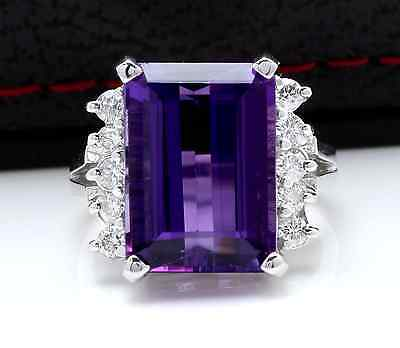 9.45 Carats Natural Amethyst and Diamond 14K Solid White Gold Ring