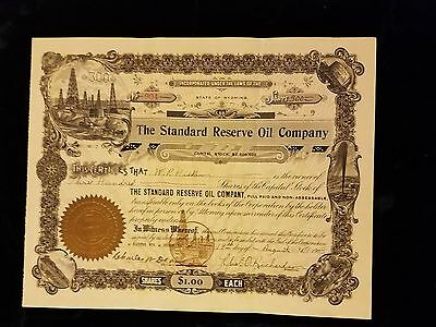 1908 The Standard Oil Reserve Oil Company Stock Certificate State Of Wyoming