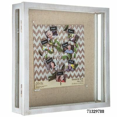 """Rustic White 5 Pane Glass SEE ALL Style FRONT LOAD Shadow Box - 12"""" x 12"""""""