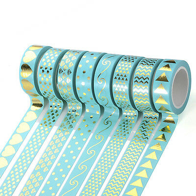 Gold Foil Washi Sticky Paper Masking Adhesive Tape Label Craft Decorative DIY