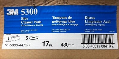 """BOX of 5 3M Blue 5300 Cleaner Pads 17"""" 175-600 rpm - Unopened"""
