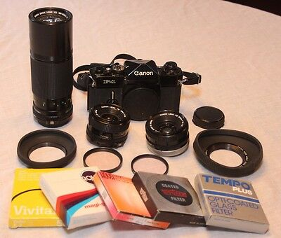 ALL Canon !! F-1 35mm film camera outfit w/ 3 Canon lenses, 2 shades & 3 filters
