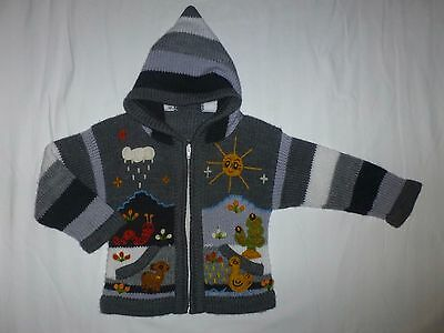 Boutique Handmade Baby Boys Gray Hooded Cardigan Knitted Sweater 18-24 Months