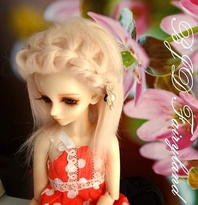 "7-8"" 7-8inch 18-19cm BJD doll wig pink 3#  wig for 1/4 SD Dollfie antiskid"