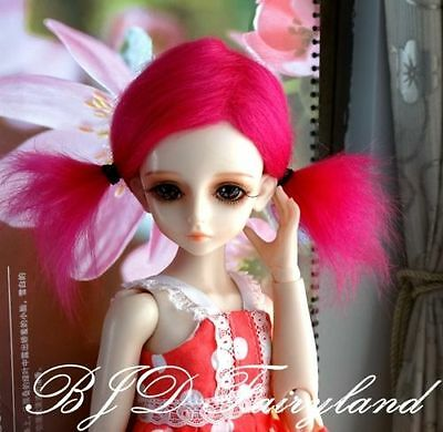 "7-8"" 7-8inch 18-19cm BJD doll wig rose red mid-long for 1/4 SD Dollfie antiskid"