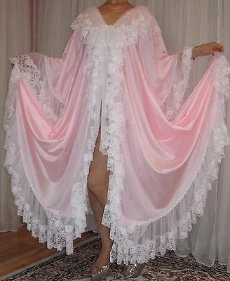 Vtg Nylon Lace Chiffon Full Sweep Lingerie Slip Negligee Robe Nightgown XL-3X
