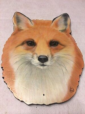 "Lifelike Red Fox Head Nature Scroll Cut Wood Wall Art 10"" Plaque Lisa Charlton"