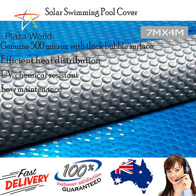Swimming Pool Cover Heat Blanket 500 Micron Solar 7 x 4m Blue top Silver Under