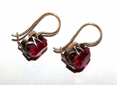 RARE Delicate RUBIES Vintage EARRINGS Silver GOLD PLATED 875 USSR